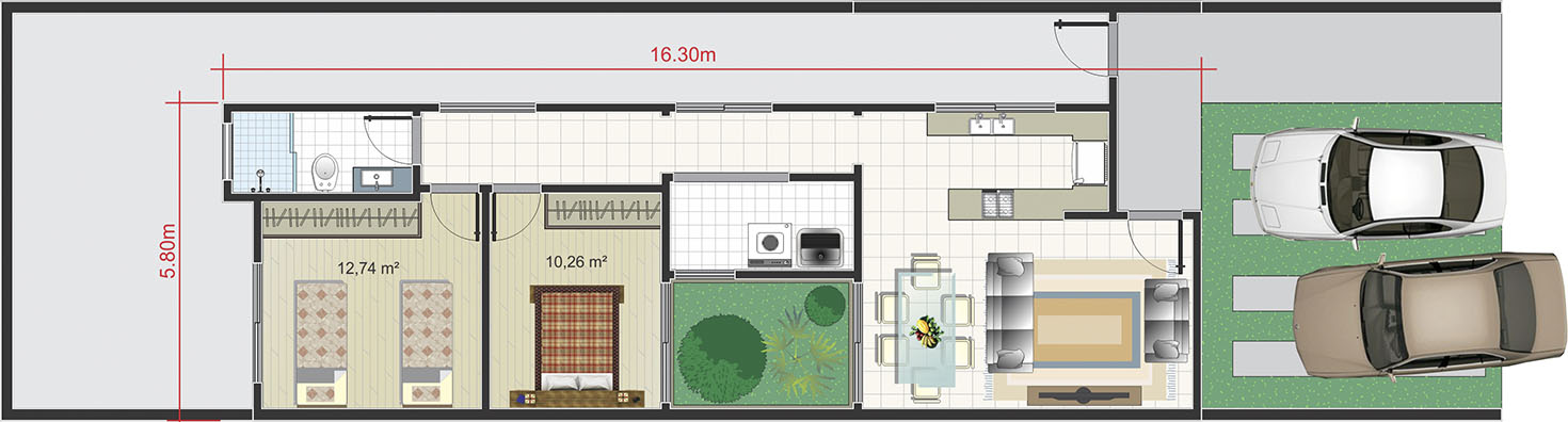 Contemporary floor plan7x25