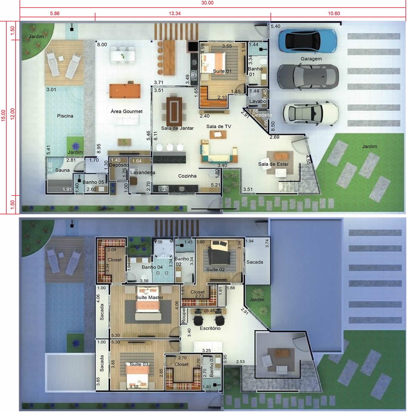 Modern sobrado project with 4 suites15x30