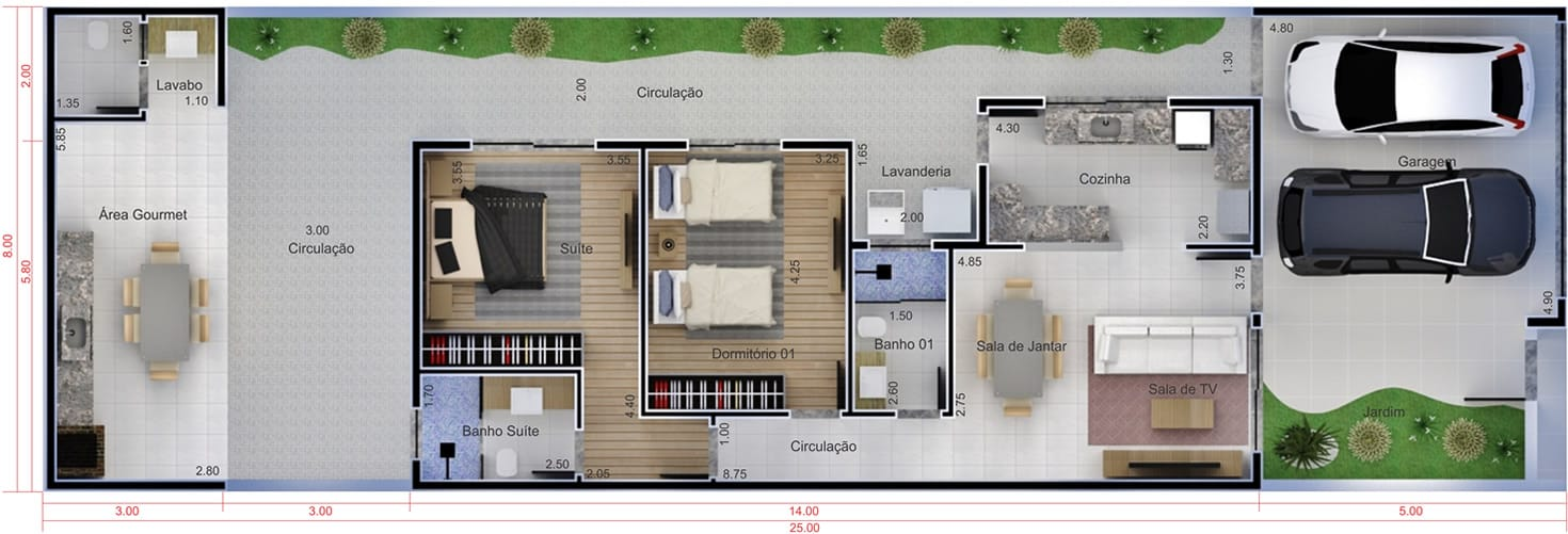 Economical house plan8x25