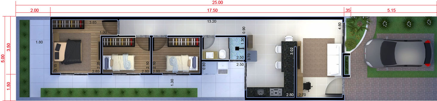 House with 3 bedrooms5x25