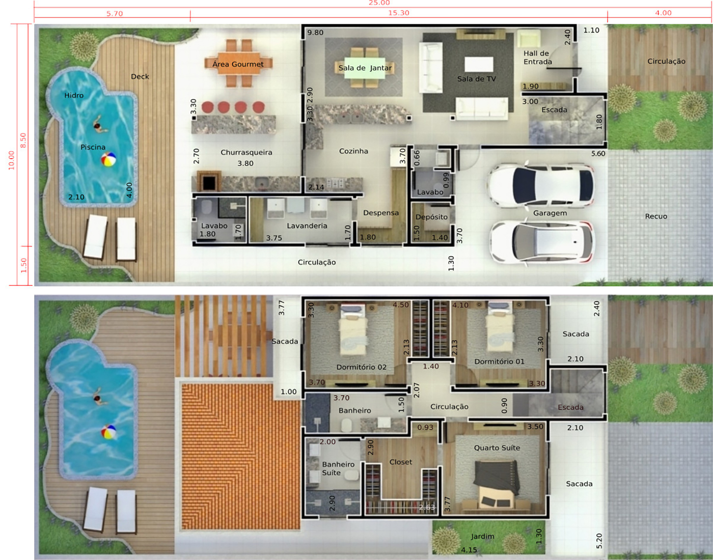 House plan with two waters roof10x25