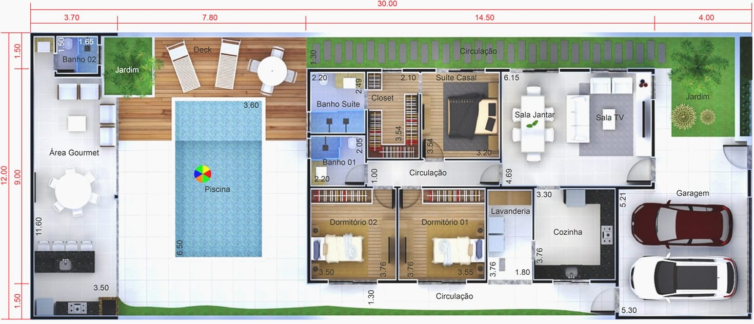 House plan with building plot12x30