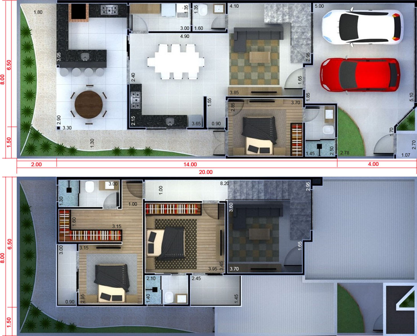 Floor plan with gourmet balcony8x20
