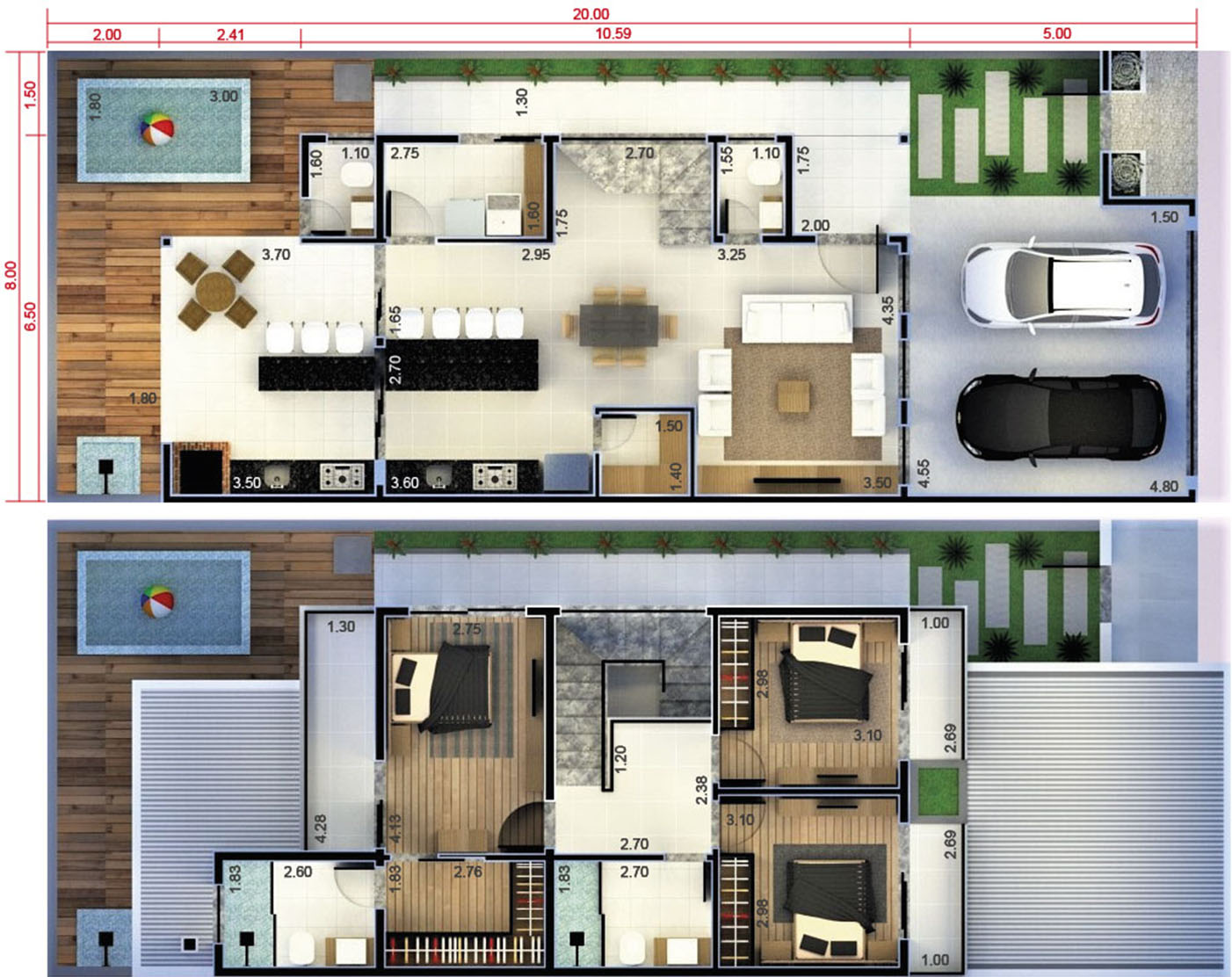 Floor plan with 2 bedrooms and 1 suite8x20