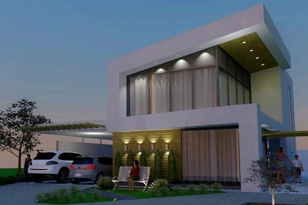House plan with modern design