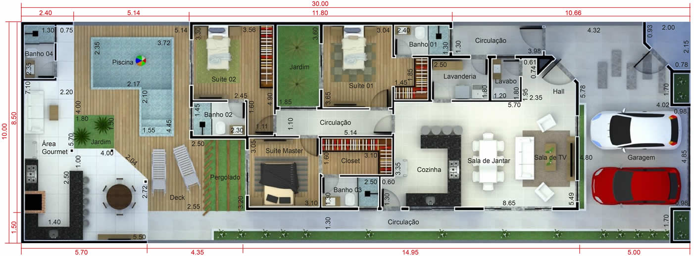 Single storey house plan with building plot10x30