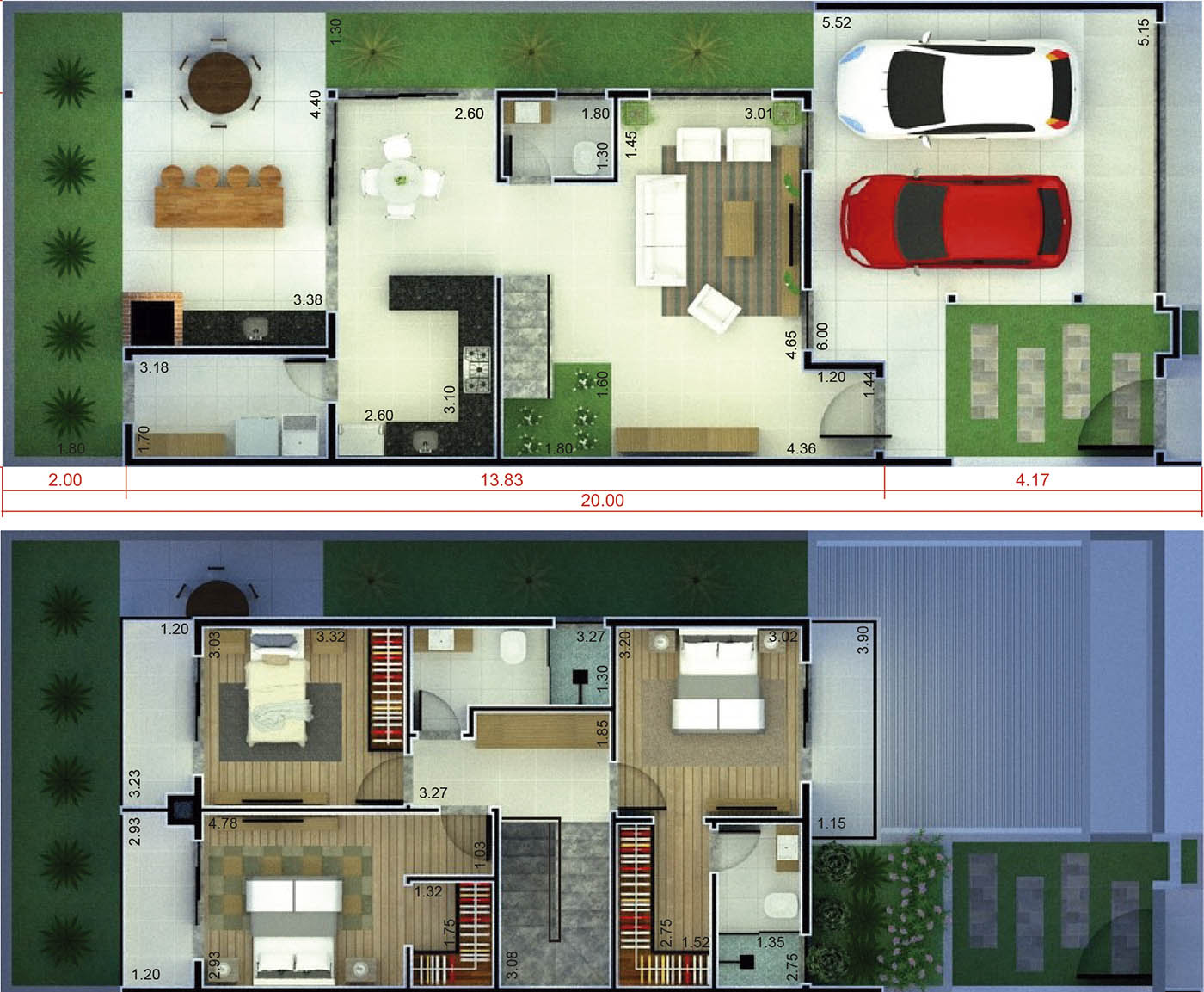 House plan with 3 bedrooms with balcony8x20