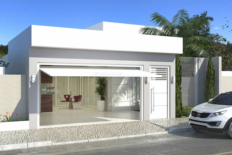 House plan with barbecue in front