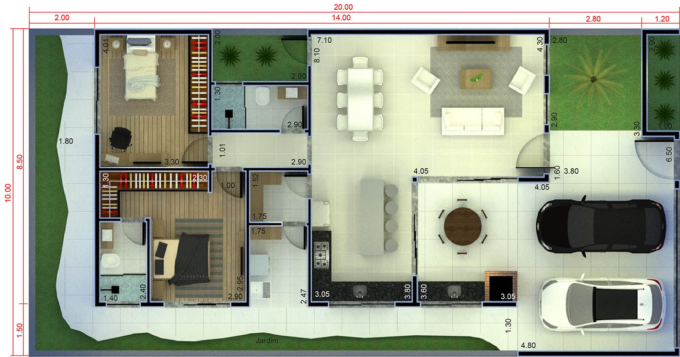 House plan with barbecue in front10x20
