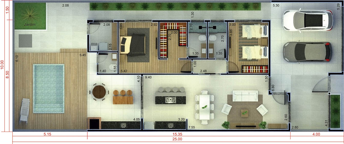 Ground floor house with 1 suite10x25