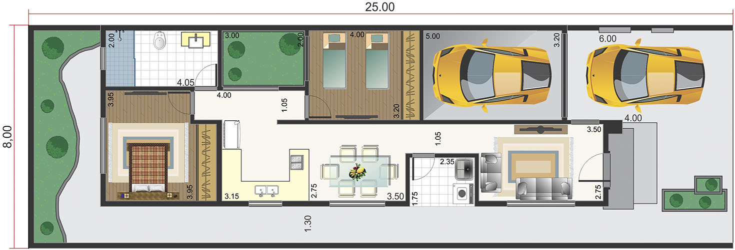Ground floor house with 2 bedrooms8x20