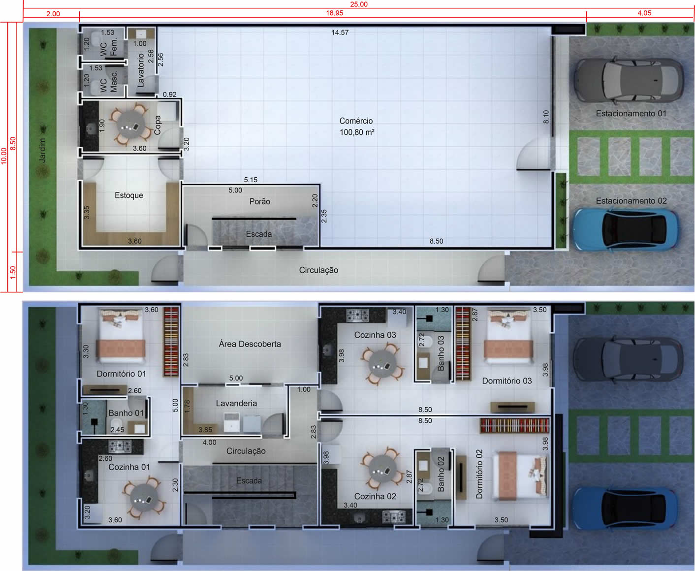 Commercial plant with store plus 3 kitnets10x25