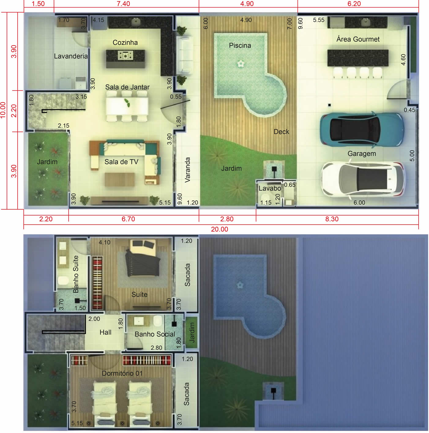 House plan with pool in front10x20