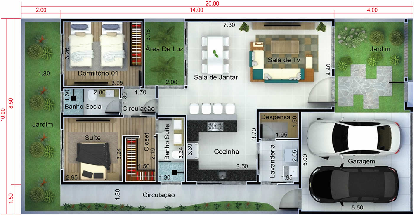 House plan with 2 bathrooms10x20