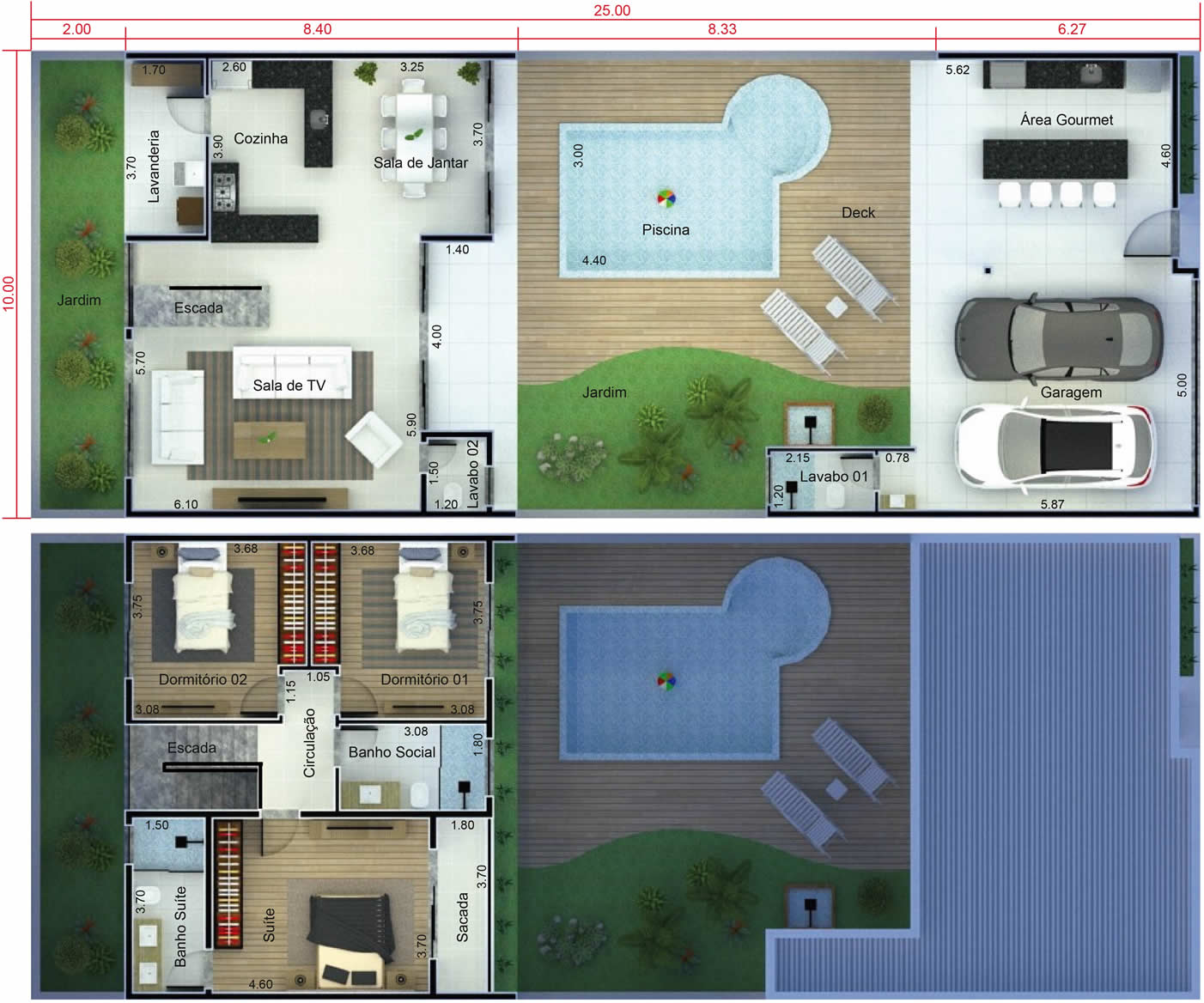 Floor plan with swimming pool in front10x25