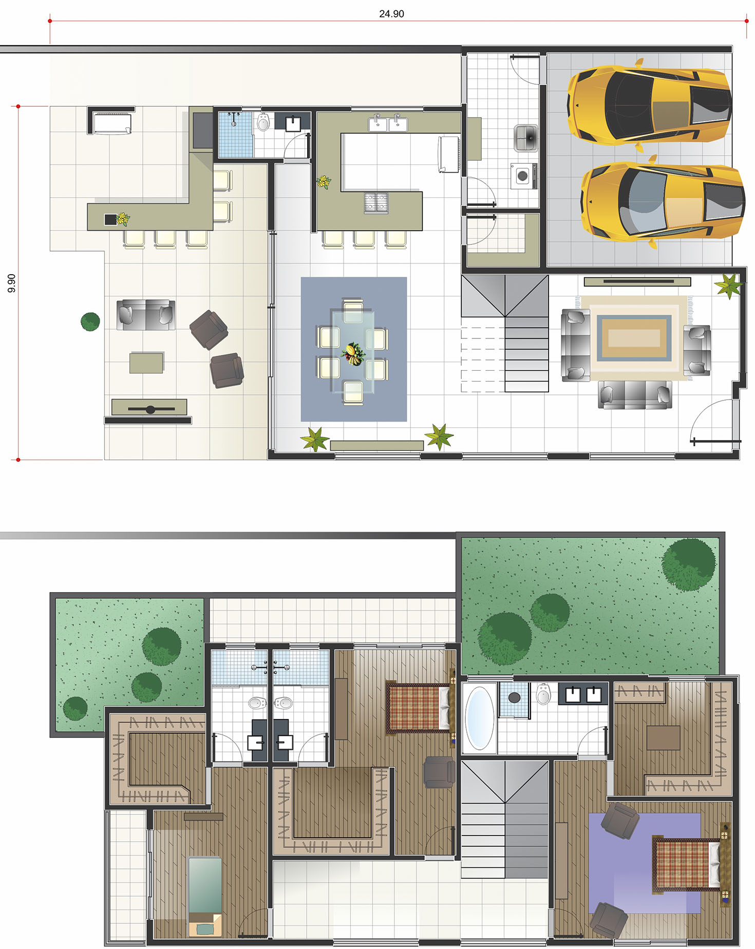 House plan in classic style13x30