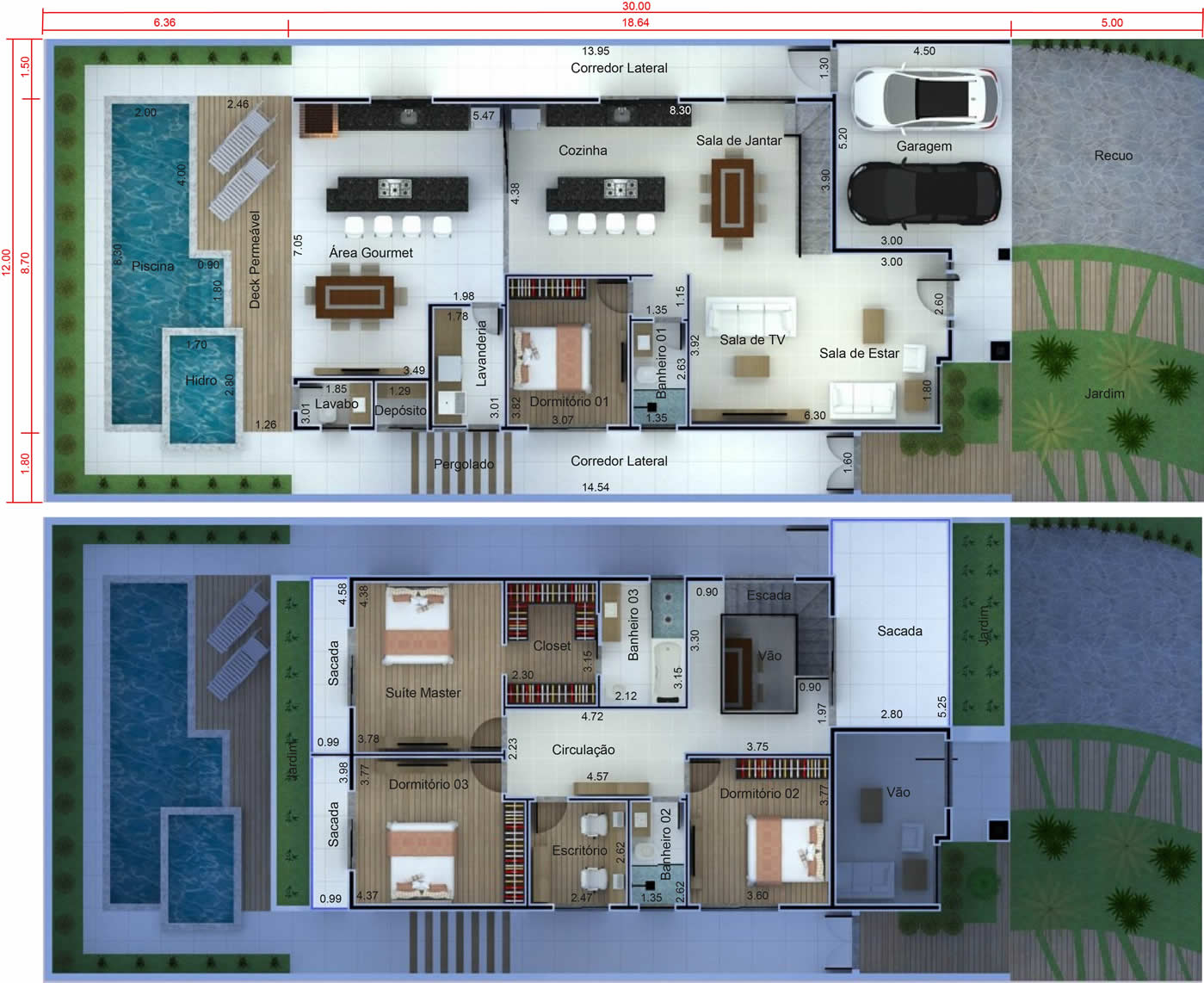 Floor plan with office above12x30