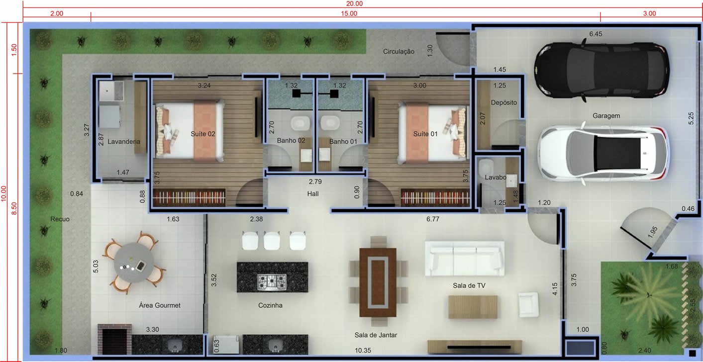 House plan with 2 bedrooms and gourmet area10x20