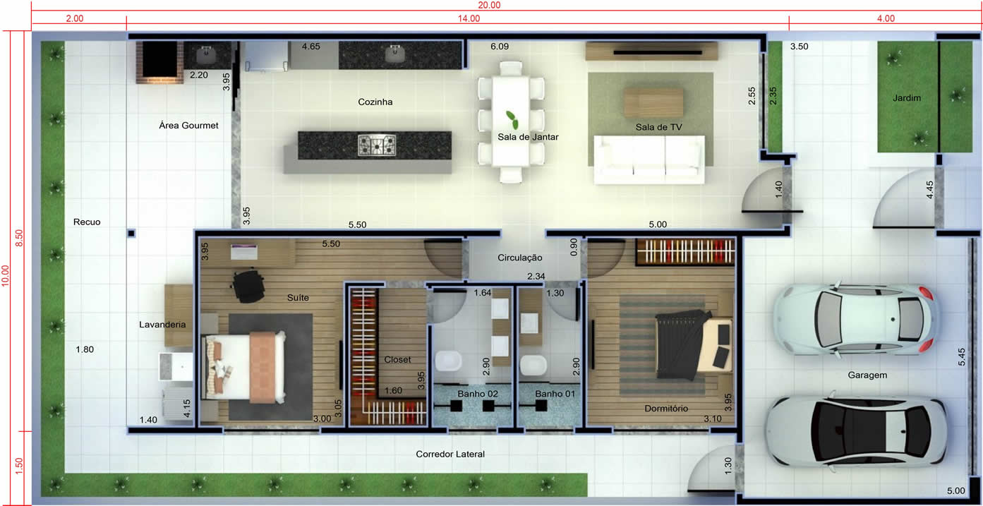 Small house plan with garage10x20