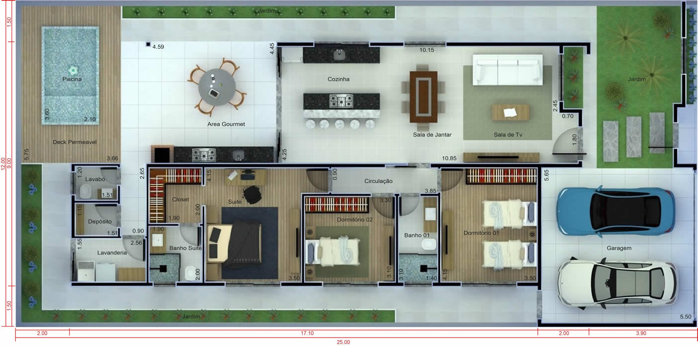 House plan with 3 bedrooms and pool12x25