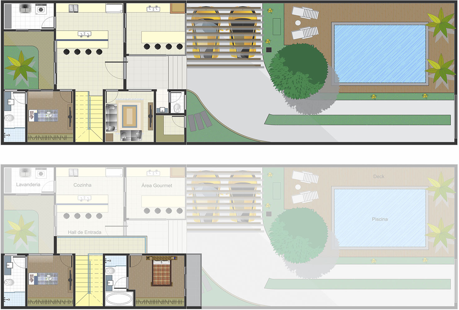 Floor plan of chalet style with 3 suites10x25