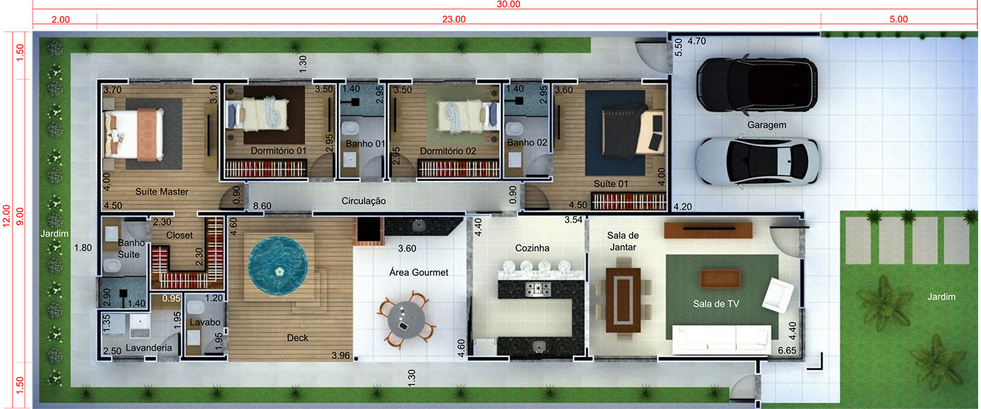 Modern house plan with 4 bedrooms12x30