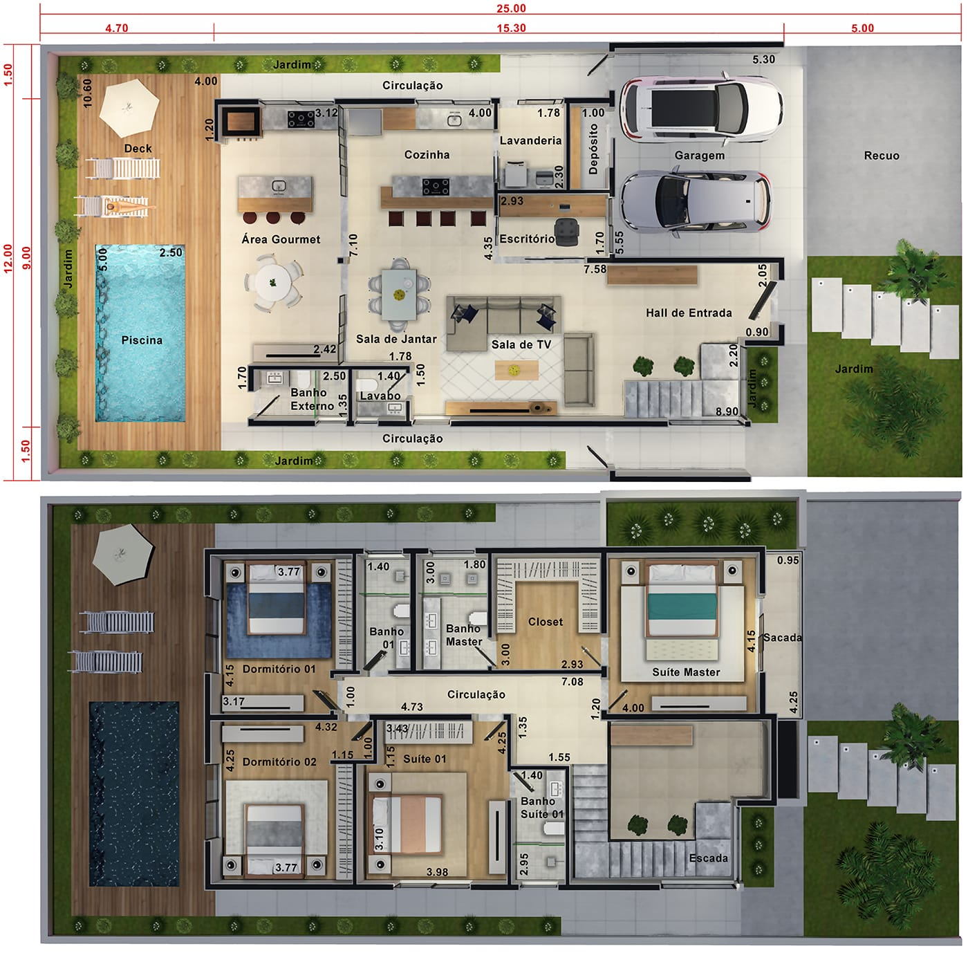 Floor plan with master suite and balcony12x25