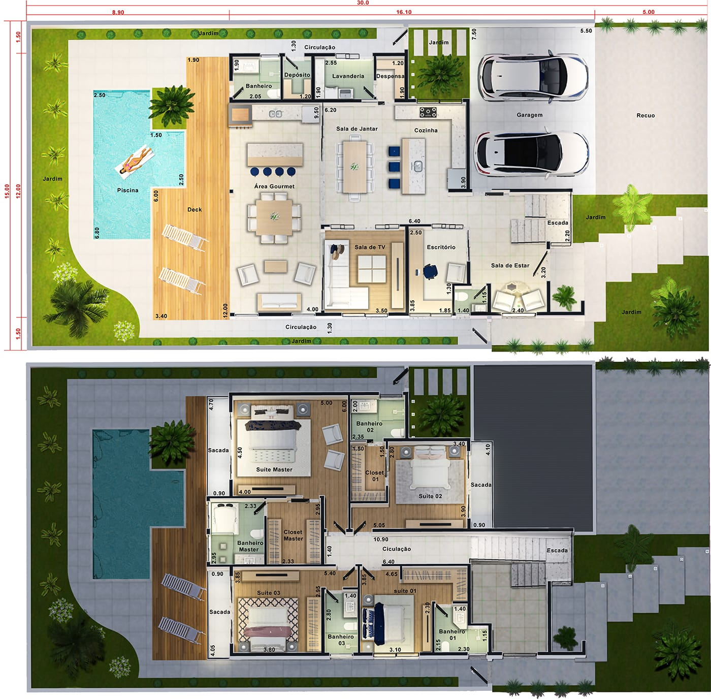Townhouse with 4 suites with pool and deck15x30