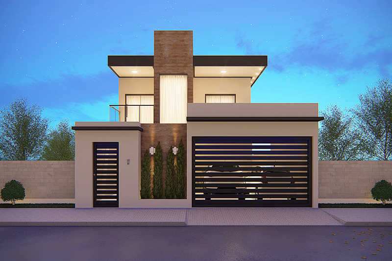 House floor plan with balcony in front