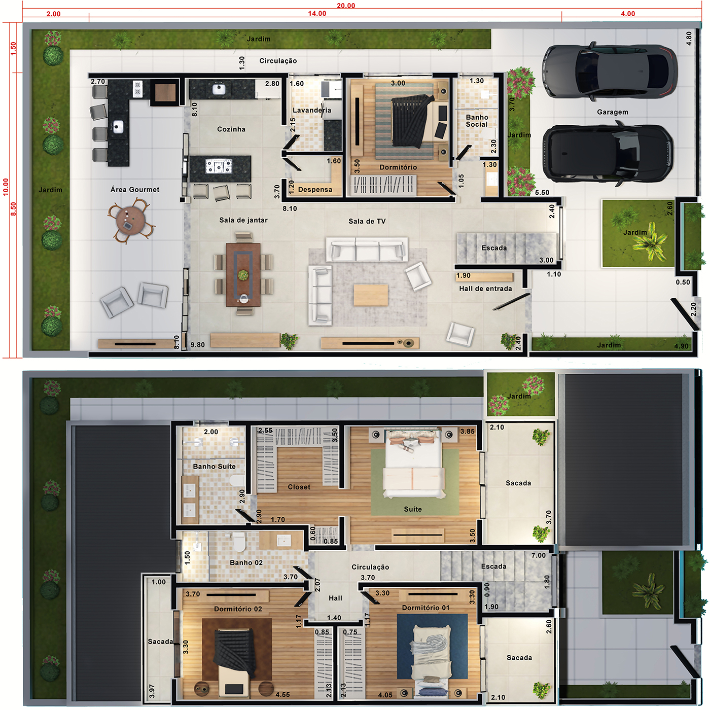 House floor plan with balcony in front10x20