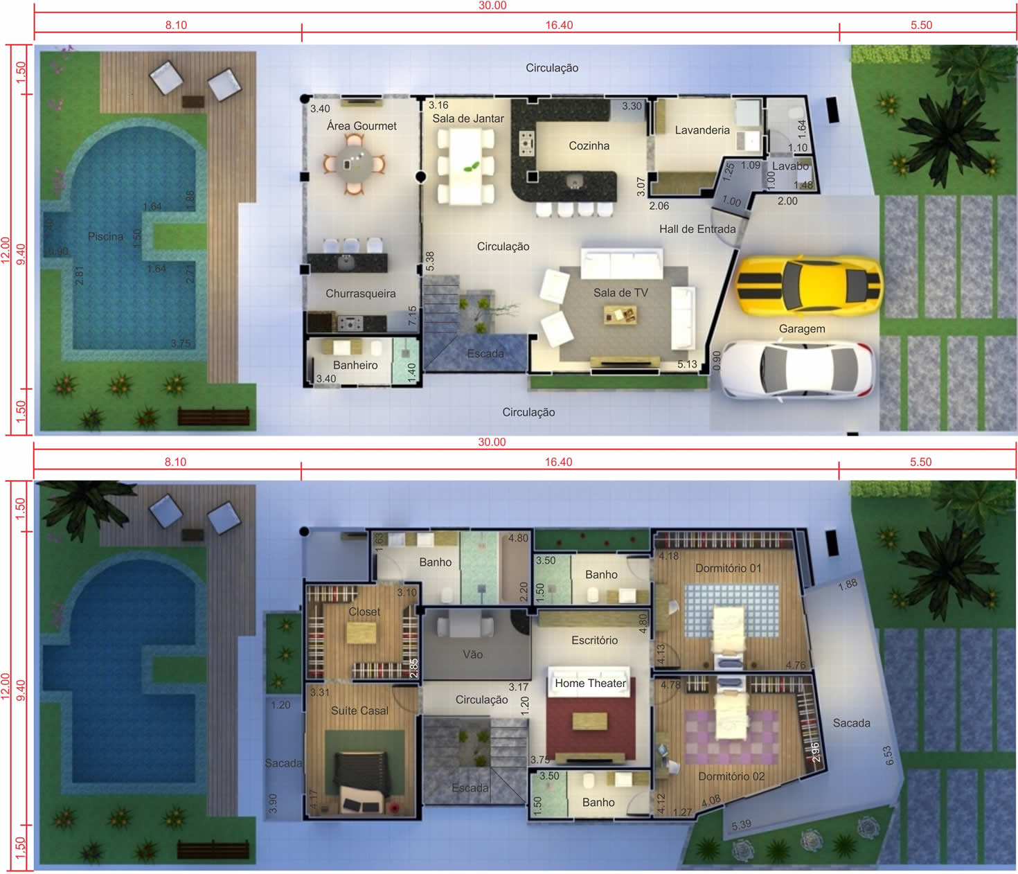 Contemporary floor plan with 3 suites12x30