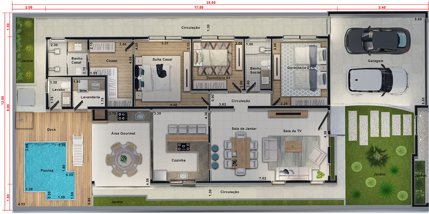 House design with separate intimate area12x25