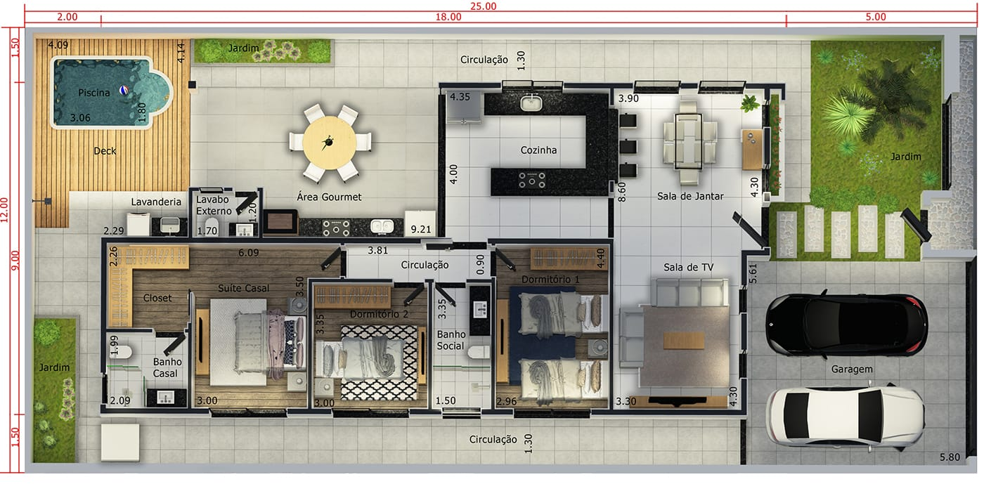 House plan with 2 bedrooms and 1 suite12x25