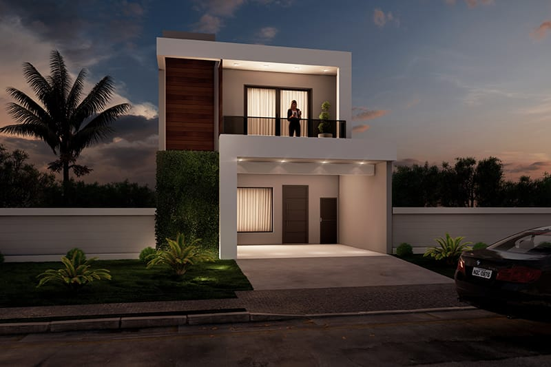 Two-story house with an intimate room