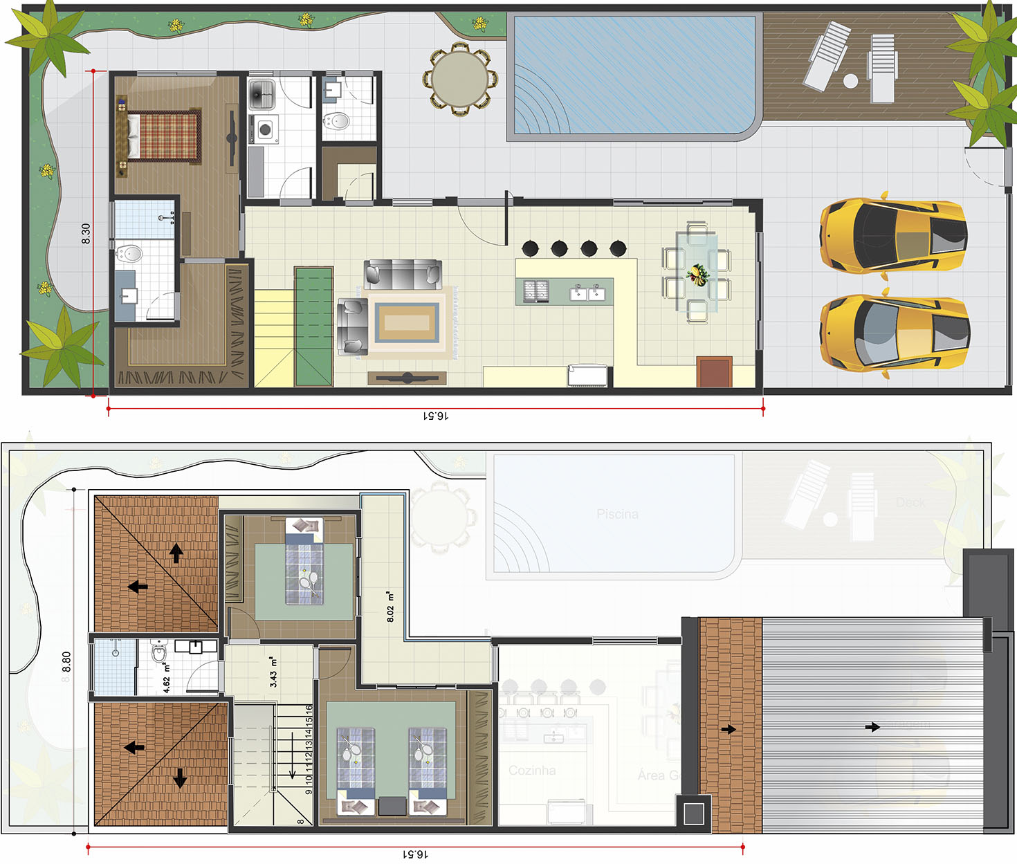 Floor plan with bedroom on the ground floor10x25