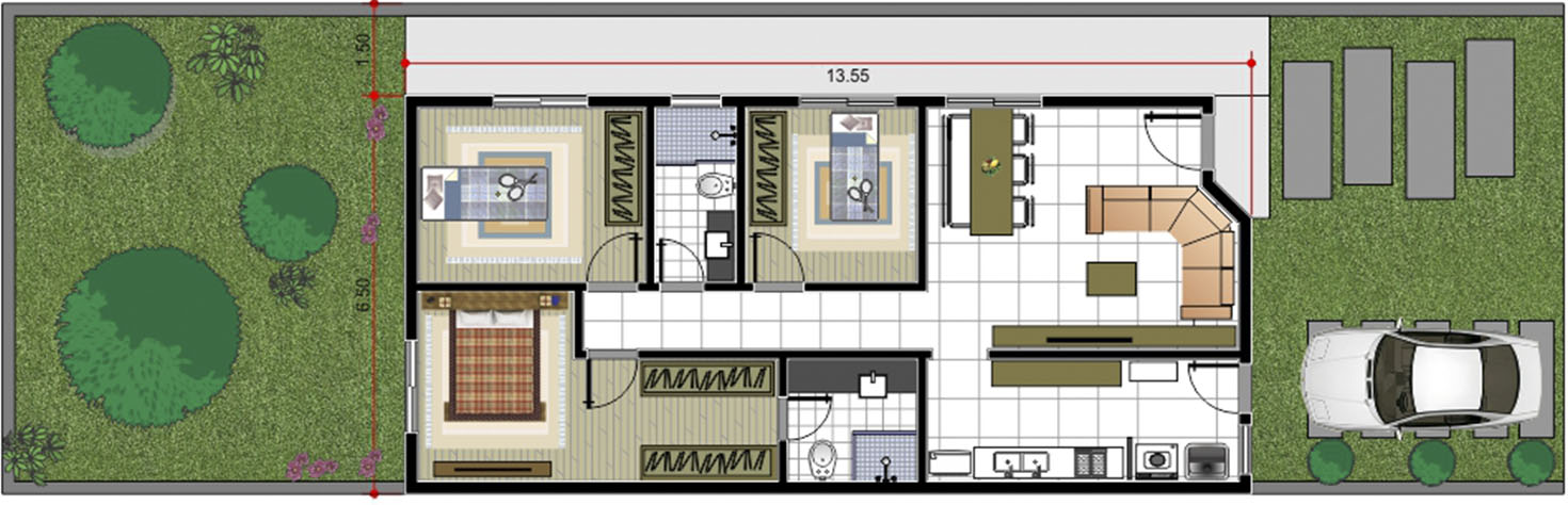 House plan with suite and closet8x25