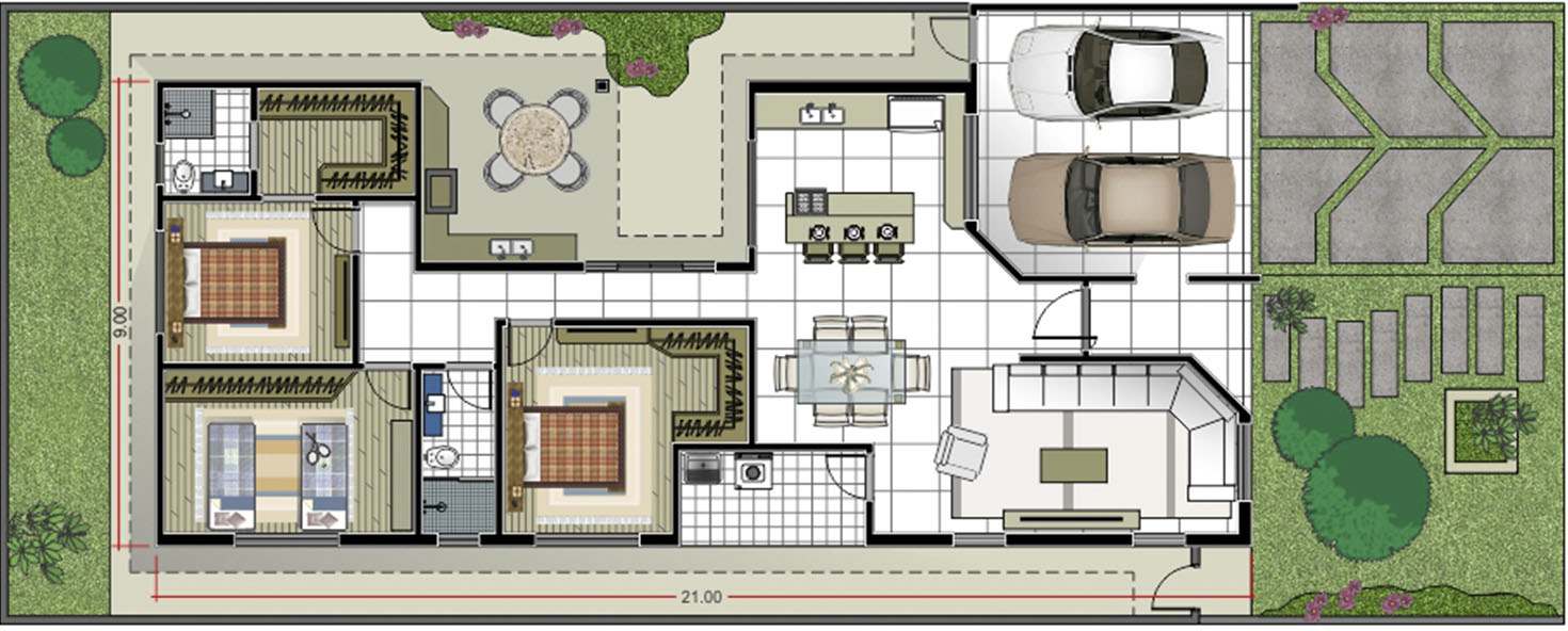 House plan with suite and closet12x30