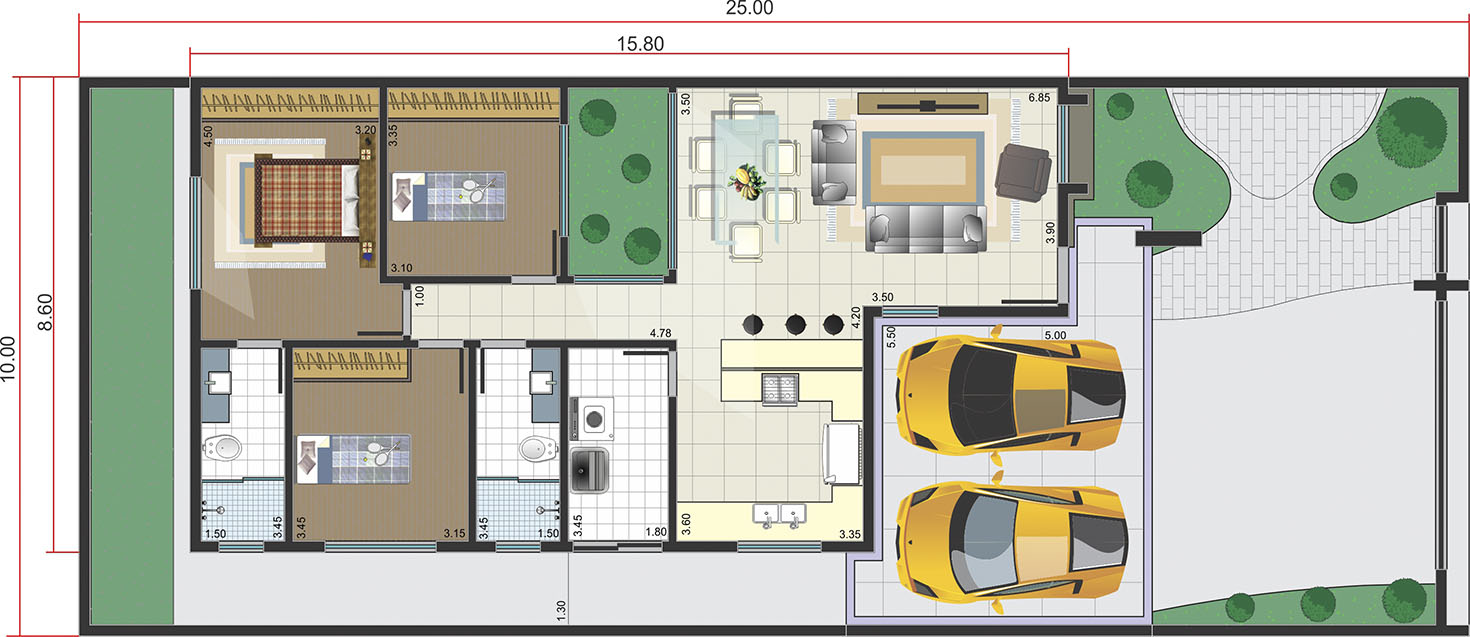 Ground floor with integrated environments10x25