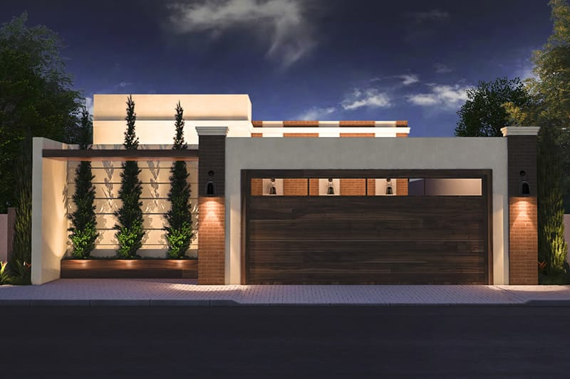 House plan with wooden gate