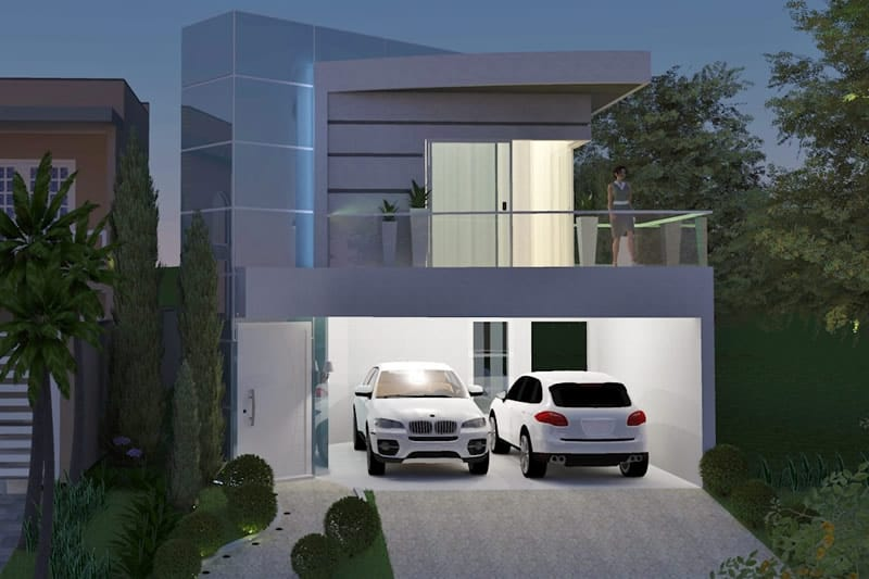 House project with glass facade