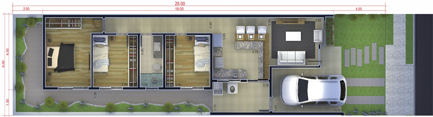 Simple house plan with garage6x25
