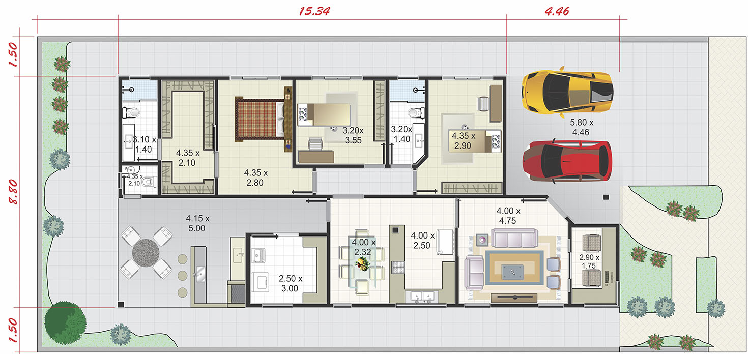 Ground floor house plan with office12x28