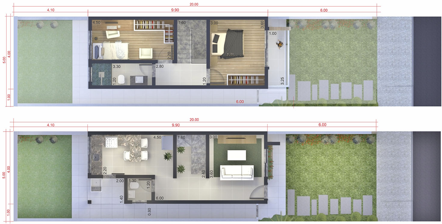 Small house plan5x20