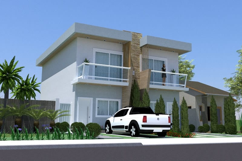 Small semi-detached house plan