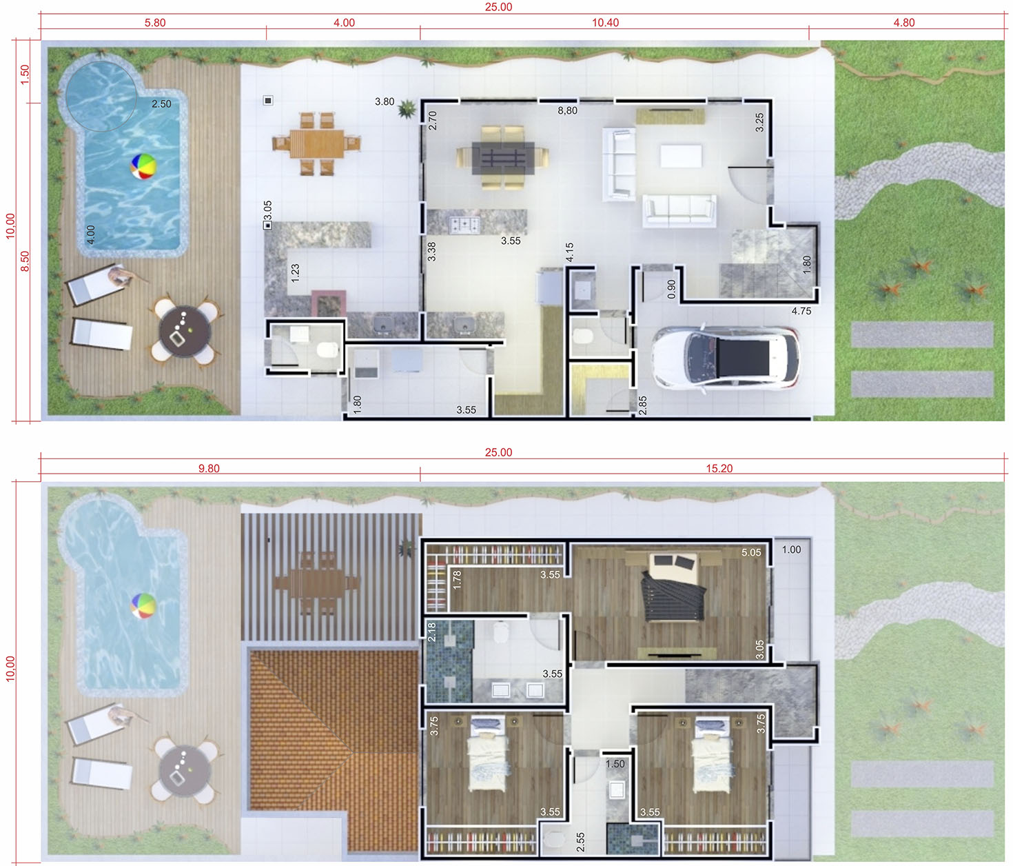 Floor plan with leisure area10x25