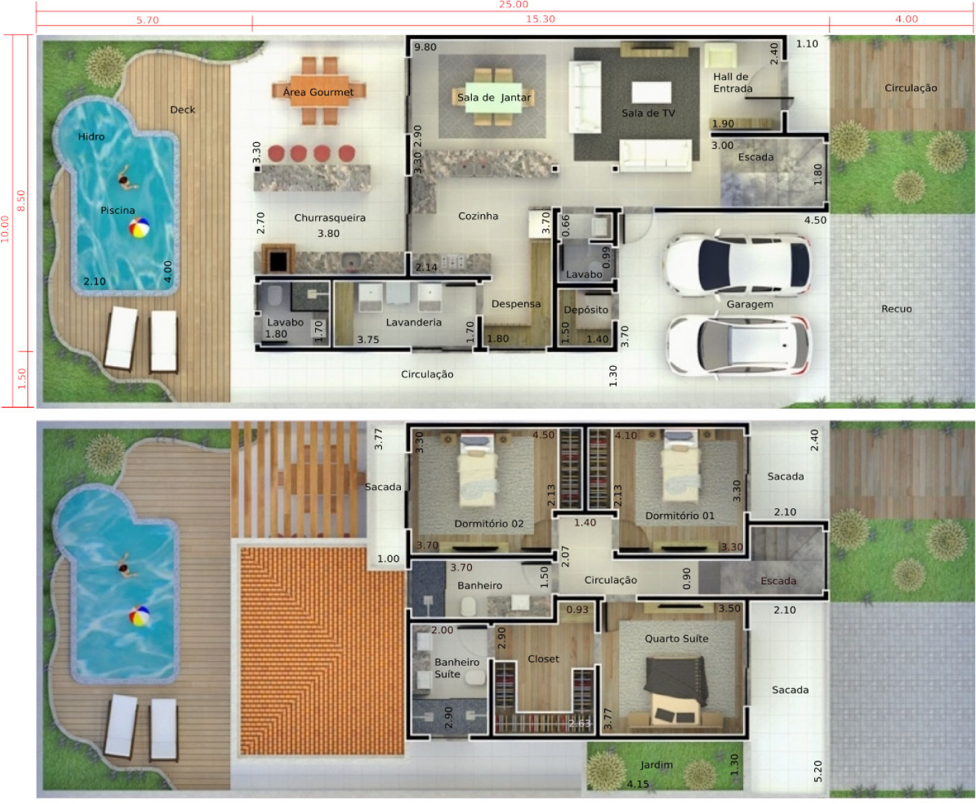 Floor plan with pool and deck10x25