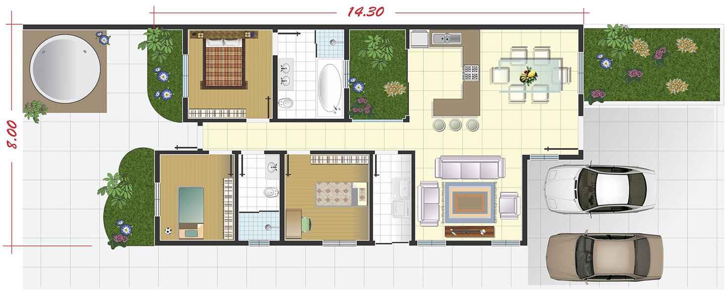 Ground floor house with large garage10x25