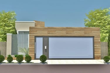 House plan with wooden facade