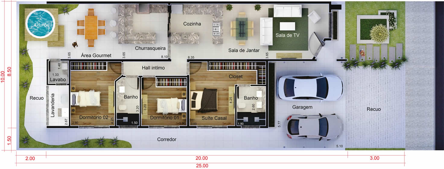 House plan with leisure area10x25