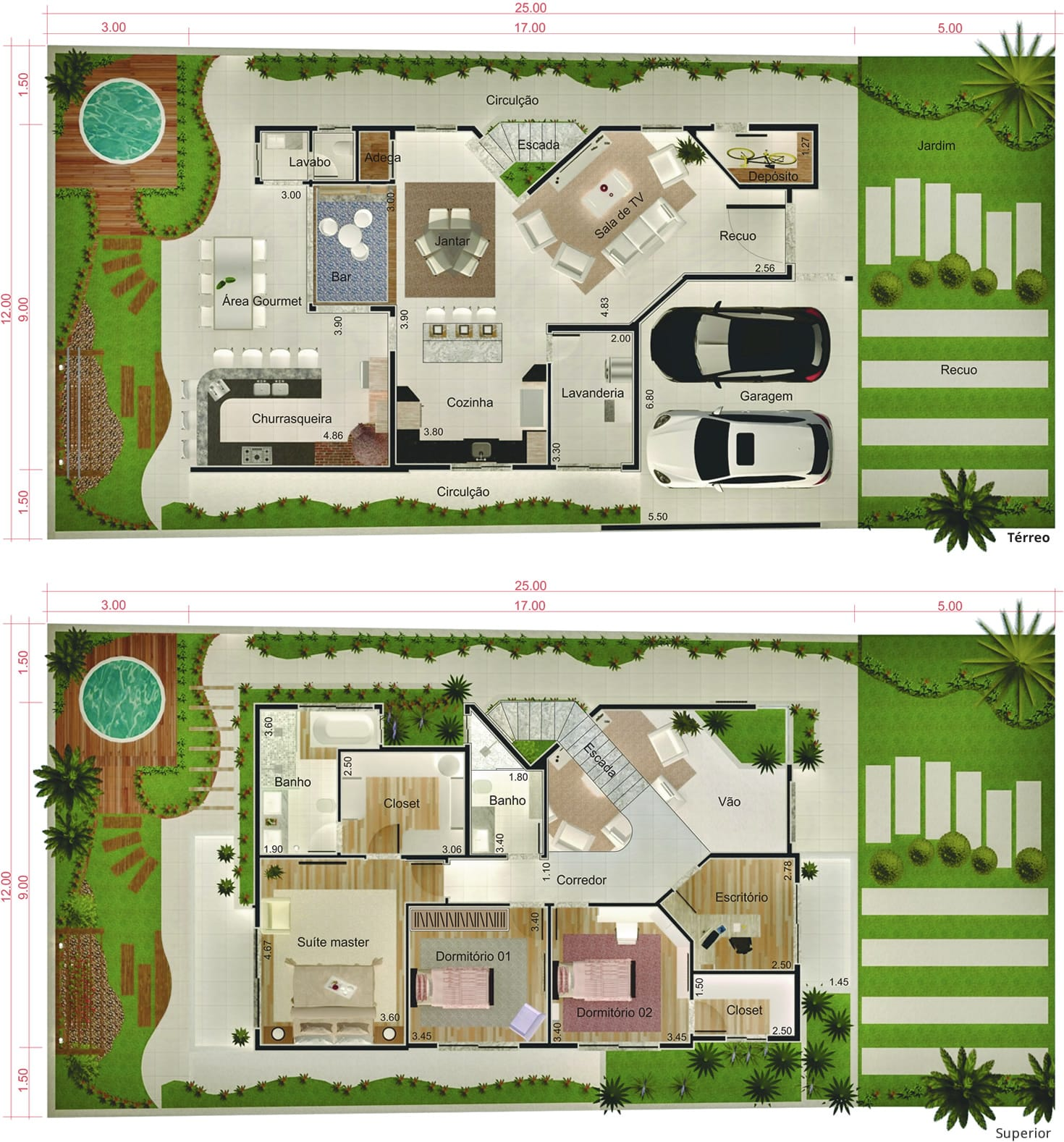 Floor plan with office12x25